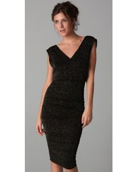 Alice + Olivia | Black Mid Length Ruched Dress | Lyst