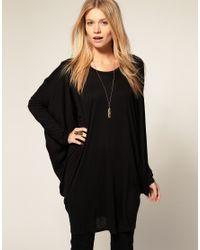 ASOS - Black Oversized Tunic Top - Lyst