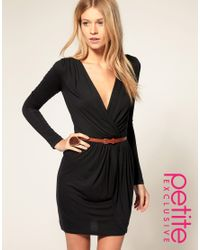 ASOS Collection - Black Asos Petite Exclusive Long Sleeve Belted Wrap Front Dress - Lyst