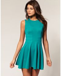 ASOS Collection | Green Asos Waisted Dress with Cut Out Shoulder Detail | Lyst