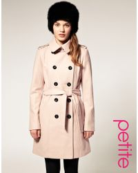 ASOS - Pink Double Breasted Coat With Belt - Lyst