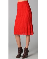 M Missoni | Red Solid Knit Skirt | Lyst