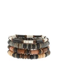 River Island Brown Beaded Bracelet Pack for men