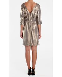 Tibi - Metallic Jersey Draped Dress - Lyst