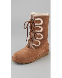 UGG | Rommy Lace Up Boots Brown | Lyst