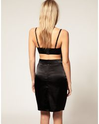 ASOS Collection - Black Asos Petite Exclusive Bodycon Dress with Fringe Cut Out - Lyst