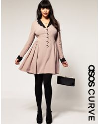 ASOS Collection | Pink Asos Curve Collar Dress with Scallop Detail | Lyst