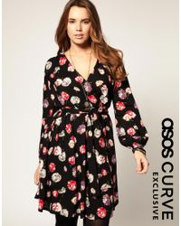 ASOS Collection - Multicolor Asos Curve Exclusive Wrap Dress in 40s Floral Print - Lyst