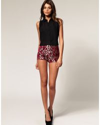 ASOS Collection | Multicolor Asos Hotpant in Luxe Metallic Animal Print | Lyst