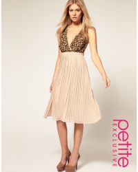 ASOS Collection | Natural Asos Petite Dress with Full Pleated Skirt and Sequin Embellishment | Lyst