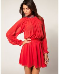 ASOS Collection | Red Asos Dress with Embellished Neck | Lyst