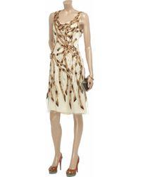 Carolina Herrera Natural Embroidered Tulle Dress