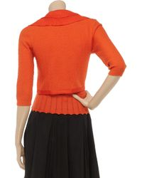 Carolina Herrera Orange Ruffled Wool-blend Cardigan