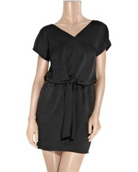 Carven - Black Tie-front Washed-satin Dress - Lyst