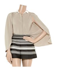 Carven - Natural Cape-sleeve Crepe Blouse - Lyst