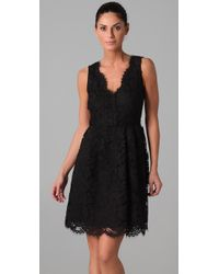 DKNY | Black Lace Dress with Scalloped Hem | Lyst