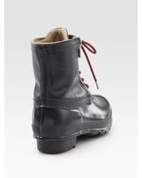 HUNTER | Gray Corwin Lace-up Leather & Rubber Duck Boots | Lyst