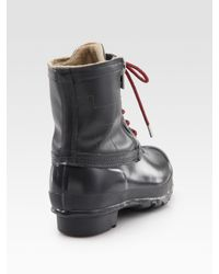 HUNTER - Gray Corwin Lace-up Leather & Rubber Duck Boots - Lyst