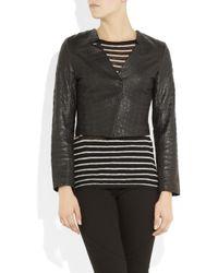 Kelly Bergin - Black Croc-effect Leather Jacket - Lyst