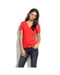 Madewell - Red V-neck Pocket Tee - Lyst