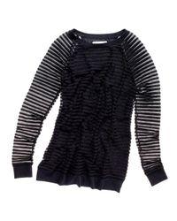 Madewell Black Sheer Stripe Tunic Top