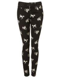TOPSHOP | Black Unicorn Print Skinny Jeans | Lyst