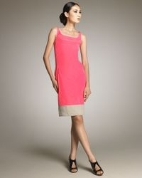 Narciso Rodriguez | Pink Contrast-trim Sheath Dress | Lyst