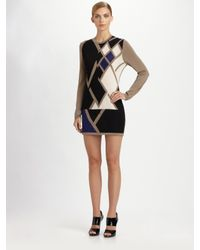 Pringle of Scotland | Black Graphic Argyle Cashmere Dress | Lyst