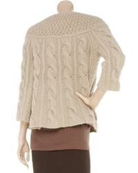 Pringle of Scotland Brown Cable-knit Wool-blend Cardigan