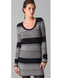Splendid | Gray Patchwork Striped Sweater Dress | Lyst