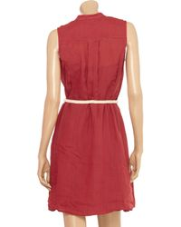 Theory Red Behira Belted Ramie Dress