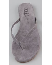 TKEES - Gray Creams Suede Thong Sandals - Lyst