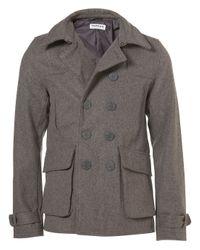 TOPMAN - Gray Light Grey Wool Peacoat Jacket for Men - Lyst