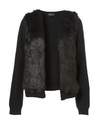 TOPSHOP | Black Knitted Faux Fur Trim Cardigan | Lyst