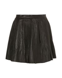 TOPSHOP | Black Premium Leather Pleated Skirt | Lyst