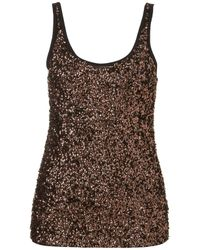 TOPSHOP Brown Sequin Front Vest