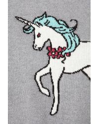TOPSHOP Gray Knitted Unicorn Crop Jumper