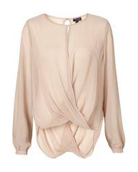 TOPSHOP - Pink Drape Front Blouse - Lyst