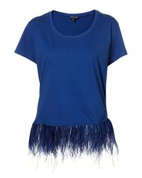 TOPSHOP Blue Marabou Feather Trim Tee