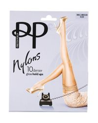 TOPSHOP Natural Nylon Hold Ups By Pretty Polly