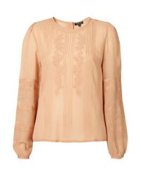 TOPSHOP Natural Pintuck Embroidered Blouse