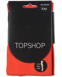 TOPSHOP - Red Cotton Tights - Lyst