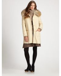 Tory Burch | White Ivan Removable-fur-collar Twill Coat | Lyst