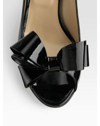 Valentino - Black Patent Leather Peep Toe Bow Pumps - Lyst