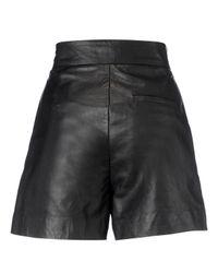 Whistles Santana Leather Shorts Black