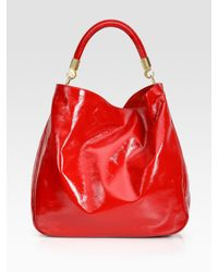 Saint Laurent - Red Ysl Large Patent Leather Roady Hobo - Lyst