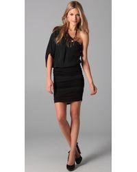 Alice + Olivia | Black One Shoulder Ruched Dress | Lyst