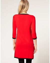 ASOS | Red Jumper Dress With Contrast Detail | Lyst