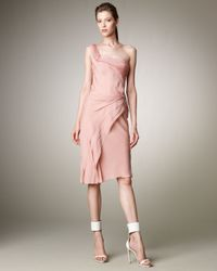 J. Mendel   Pink One-shoulder Layered Dress   Lyst