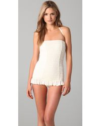 Juicy Couture | White Starlet Smocked Bandeau Swimdress | Lyst